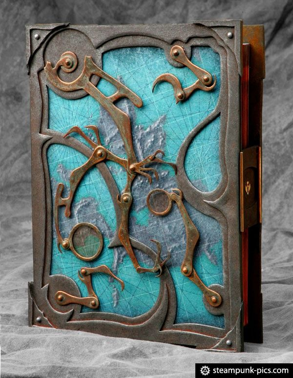 Steampunk book binding.. Not instructional for book binding but an interesting option for book covers.