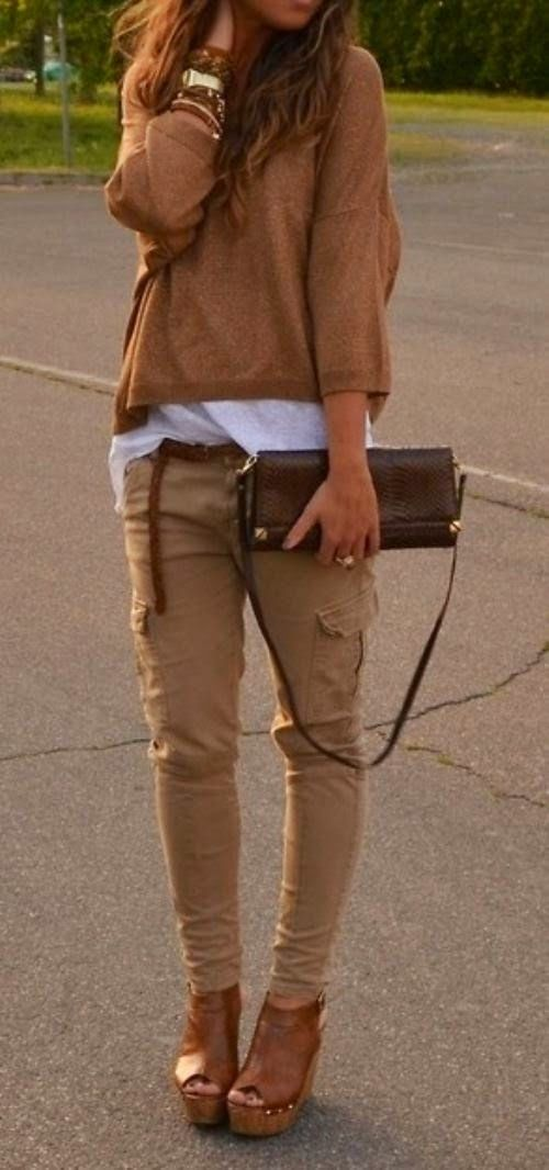 Love this casual look for fall. the cargo skinnies, the cropped shirt,all the bangels!  my style