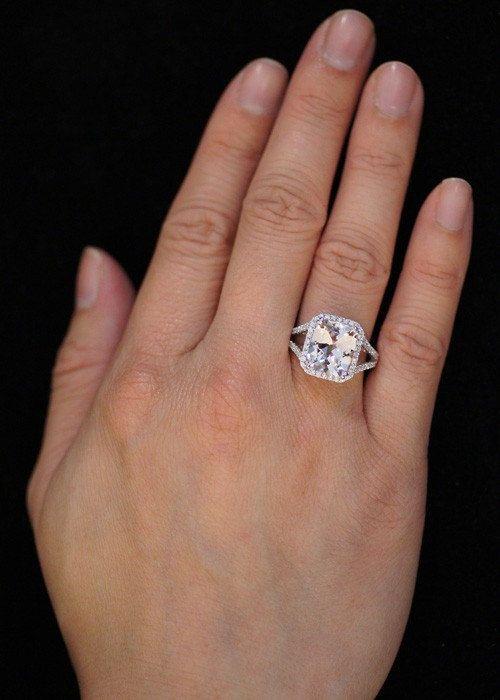 Beautiful 14 Karat White Gold Cushion Cut Morganite Diamond Halo Split Shank Engagement  Wedding Anniversary Right Hand Gemstone Ring
