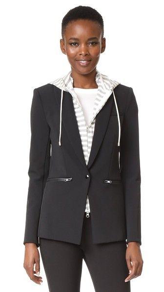 VERONICA BEARD Scuba Jacket With Stripe Sweater Hoodie Dickey. #veronicabeard #cloth #dress #top #shirt #sweater #skirt #beachwear #activewear