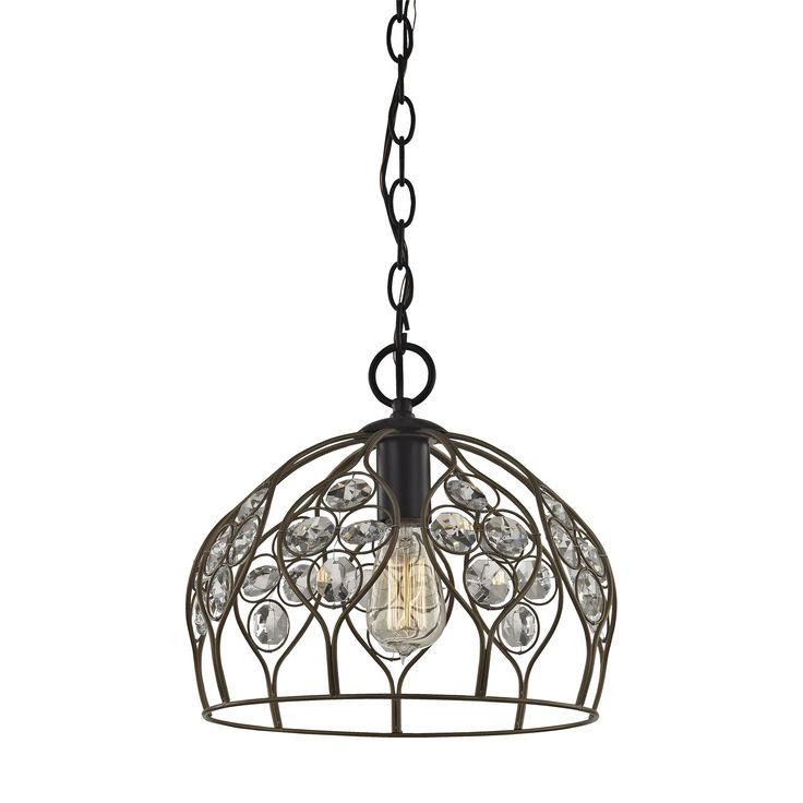 Crystal Web 1 Light Penant In Bronze Gold And Matte Black With Clear Crystal - Includes Recessed Lighting Kit