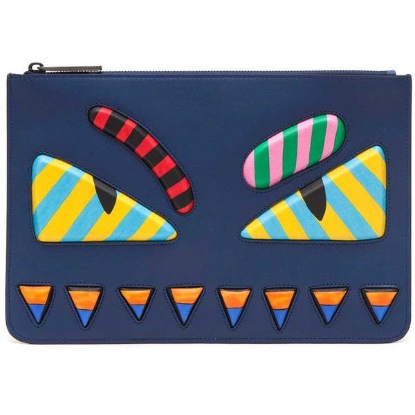 FENDI Clutch With Bug Eyes ($1,145) ❤ liked on Polyvore featuring men's fashion