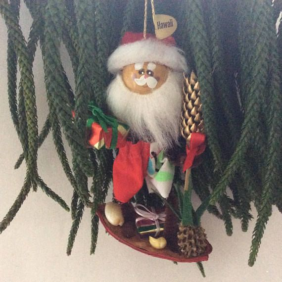Christmas Ornament - Santa - Hawaiian Christmas - surfing Santa