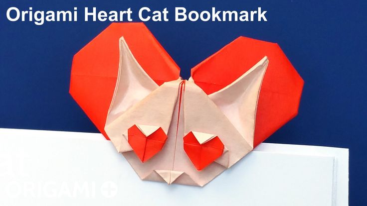 Learn how to make this cute origami cat bookmark with lots of hearts (in the eyes of the kitten and in the back) from only one square sheet of paper. How to make an origami Heart Cat Bookmark. Step-by-step instructions with photos and video.