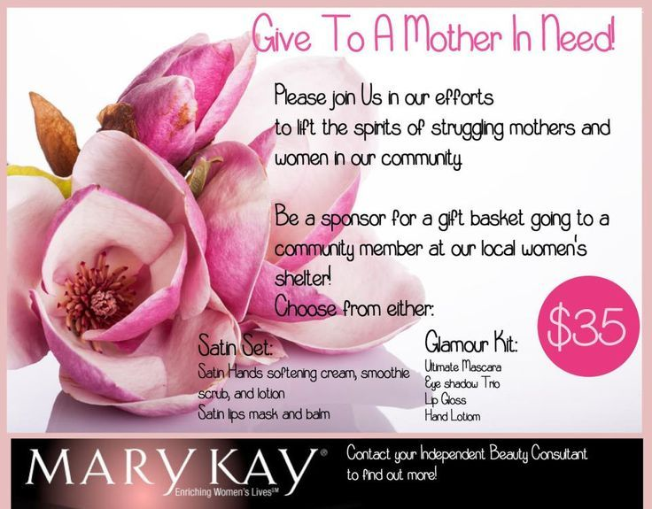 Adopt a mom currently living at the Refuge House for Mother's Day when you contribute to a basket delivery to brighten her day. Patrice Childs  Mary Kay Sales Director  www.marykay.com/pchilds