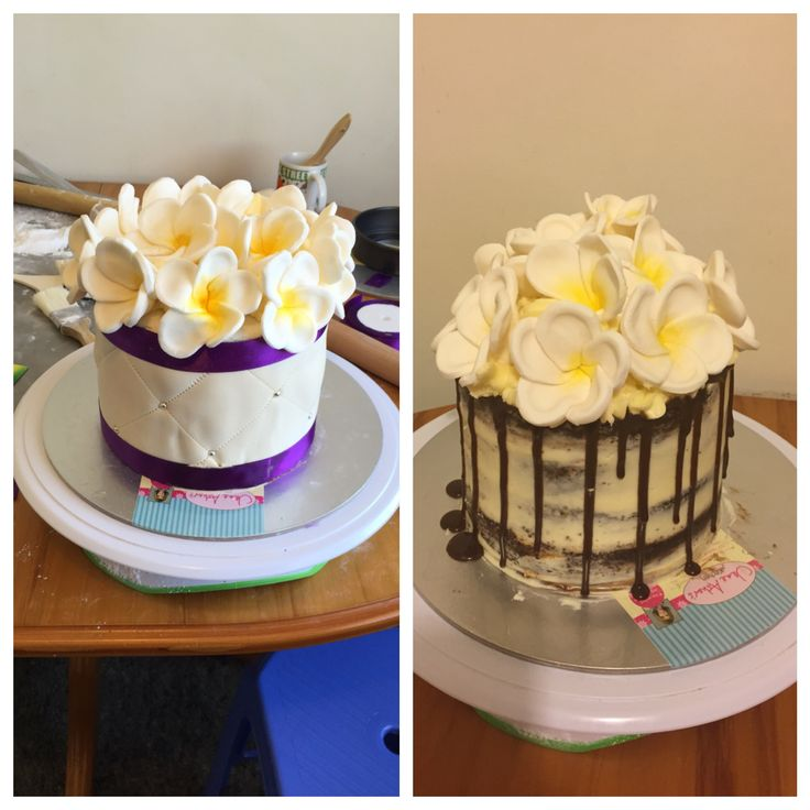 Top tier wedding cake, chocolate 3 layered cake with vanilla butter cream frosting, originally covered with vanilla fondant. Didn't brush enough boiling water to ganache in order for fondant work to stick, hence why changed top tier to naked drip cake on the right #nakeddripcake #frangipani
