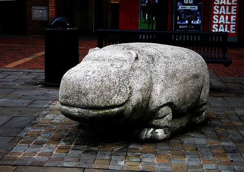The Walsall Hippo. It's a concrete hippo, in the shopping centre in Walsall, uk