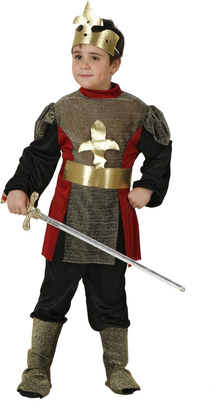 Disfraz de caballero medieval para niño: Este disfraz para niño se compone de una camisa, un pantalón con cubrebotas, un cinturón y una corona. (Espada no incluida). Es un traje perfecto para carnavales y cualquier otro...