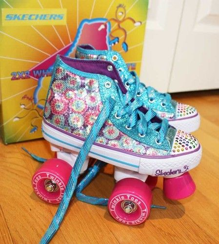 Skechers Girls Twinkle Toes Roller Skates  we have these roller skates in our store, I can't help but me reminded of growing up in the 80's going to the roller rink, and how awesome these would have been then.