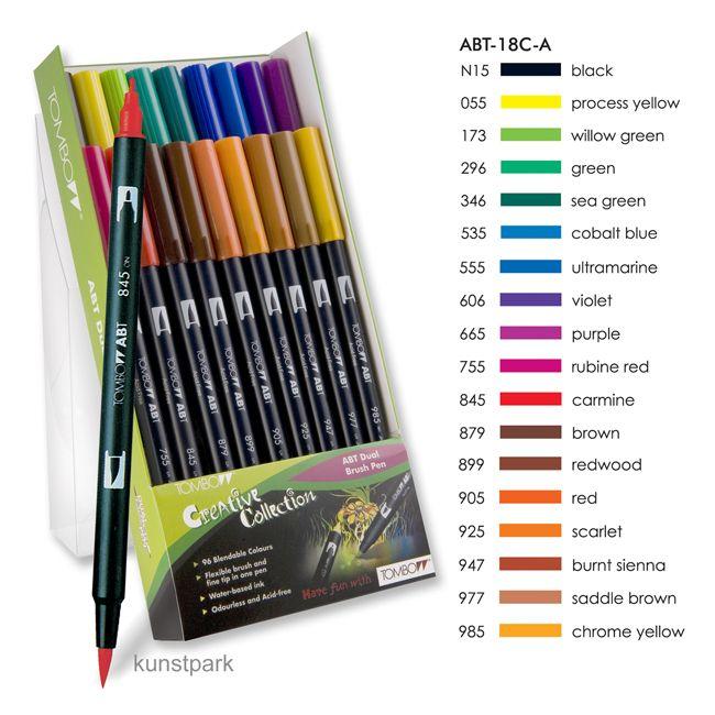 Tombow Brush Pen - Set 18 Grundfarben
