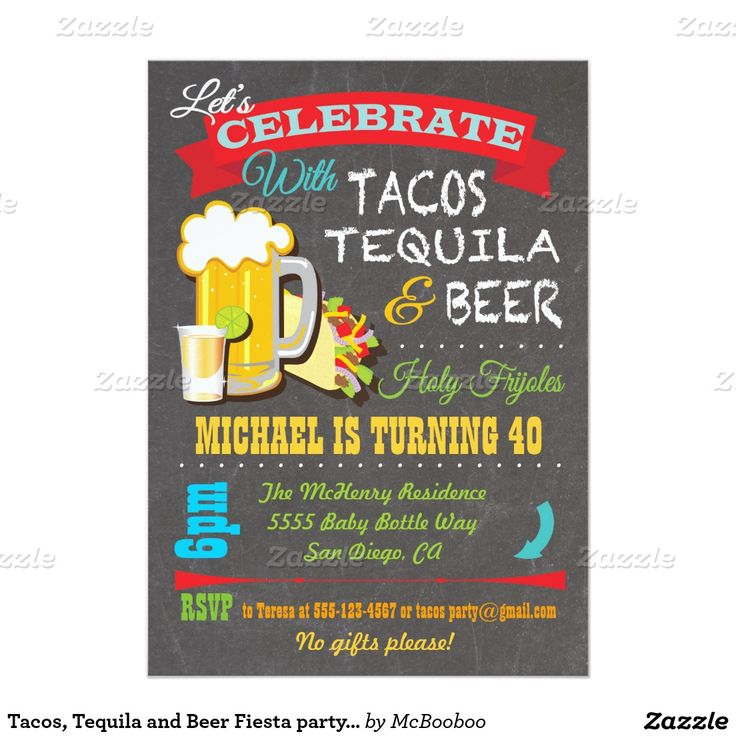 Tacos Tequila And Beer Fiesta Party Invitation Tacos