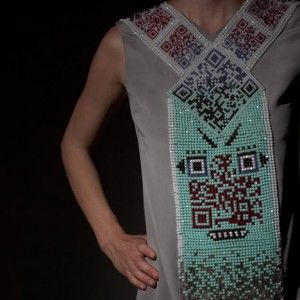 QR Code on a Dress. Decode to see this QR Code sing and blink.