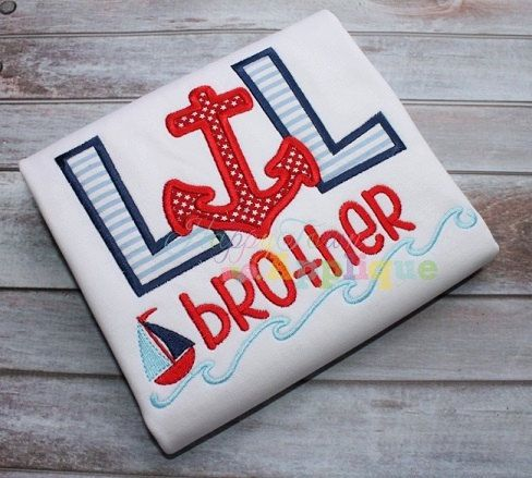 Lil Brother Anchor and Sailboat Applique Sibling Shirt #lilbrothershirt #siblingshirts #rockinthetutu