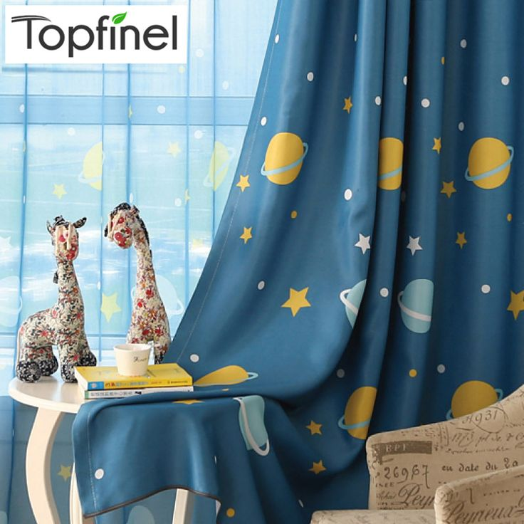 Top Finel Latest Style Planet & Star Pattern Curtains for Children Baby Kids Room Curtains Cortinas Blackout Curtains Drapes #Affiliate