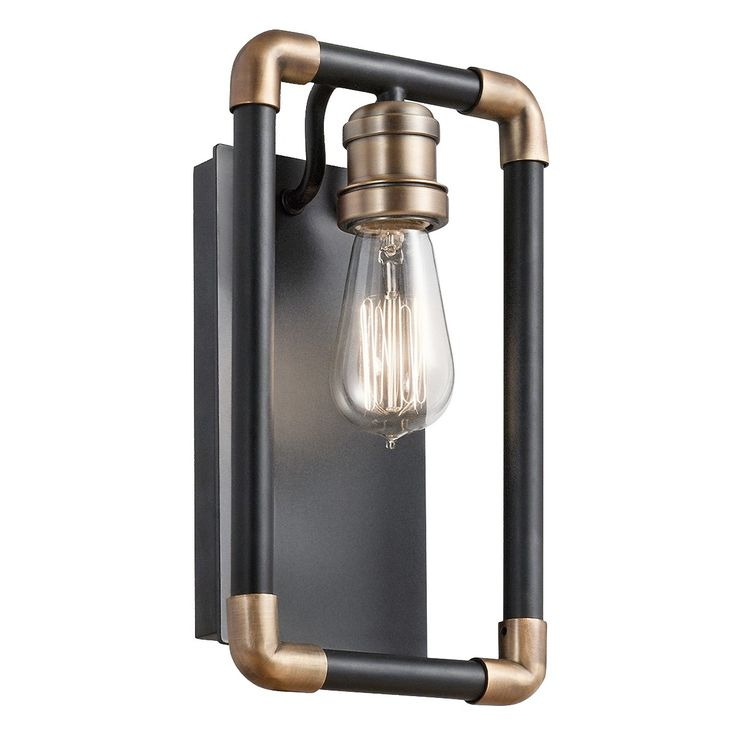 This Imahn 1-light Sconce features industrial characteristics by utilizing the inspiration of exposed piping and mixing Black and Natural Brass finishes. To further accentuate the minimalistic style, an Edison style bulb is shown and recommended.  *Damp rated products are approved for use in bathrooms, indoor pools, utility rooms, covered patios, balconies, and other interior/exterior spaces subject to condensation.  Weight:	5.50 LBS Safety Rated:	Damp Base Backplate:	4.75 X 9.50 Coll...