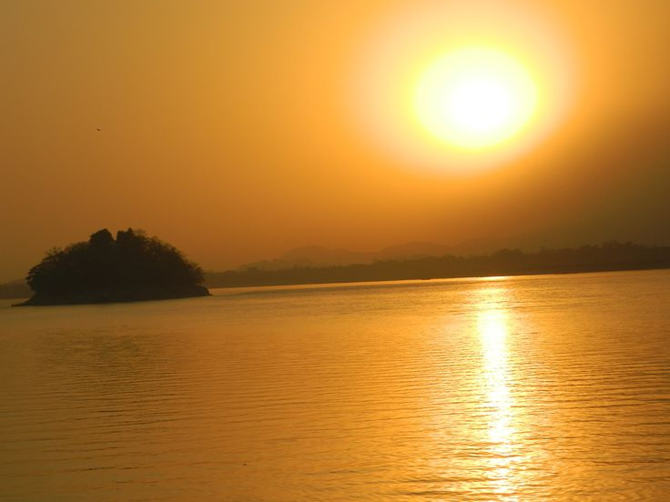 Sunset at the Brahmaputra river, Assam, India #travel