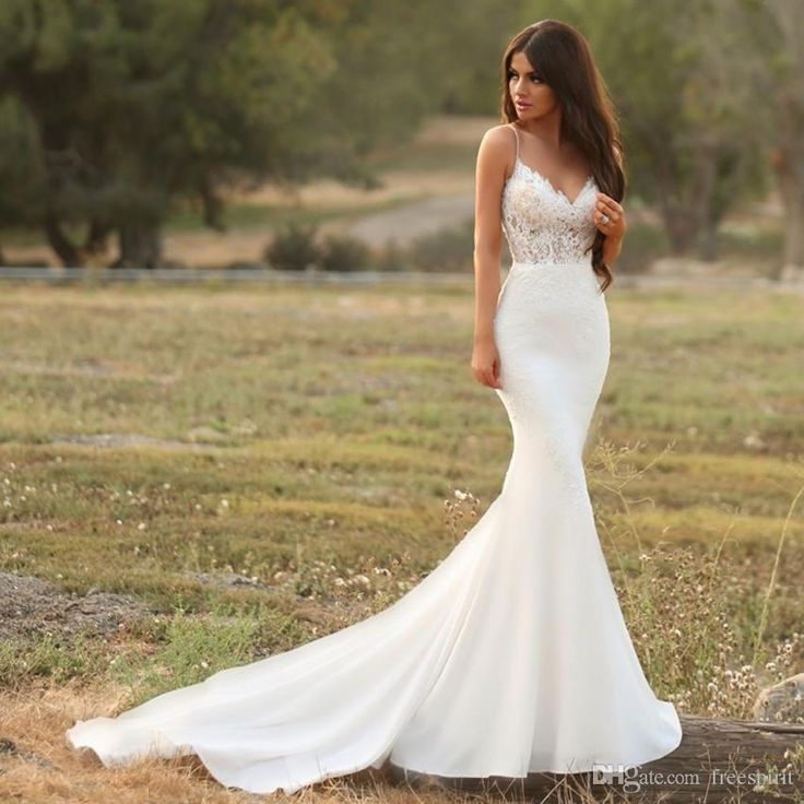 Gorgeous Satin Mermaid Wedding Dress with Lace Spaghetti Strap Backless Illusion Bridal Gown Modest Simple Reception Dress for Bride