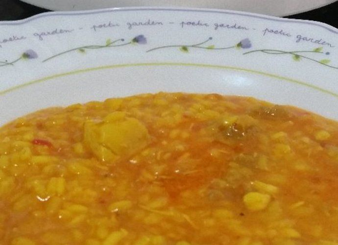 Arroz meloso con pollo y salchichas para #Mycook http://www.mycook.es/cocina/receta/arroz-meloso-con-pollo-y-salchichas