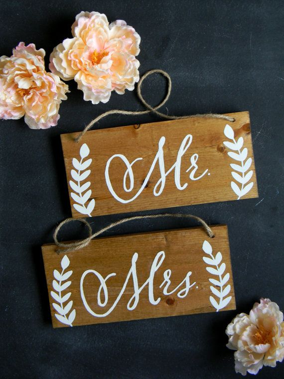 Rustic Mr. Mrs. Chair Signs Rustic Wood Chair Signs Photo Props Shabby Chic…