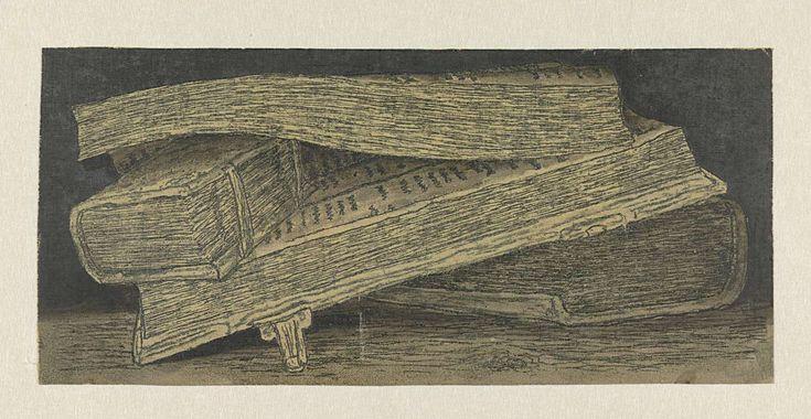 Hercules Segers | Drie boeken, Hercules Segers, c. 1615 - c. 1630 | Compositie van drie boeken op een tafel. De boeken liggen op een tafel en zijn van opzij weergegeven. Het dikke boek onderop doet dienst als ondersteuning voor een foliant die opengeslagen ligt alsof er net nog in gelezen werd. Tussen de bladzijden van dit grote boek steekt ten slotte nog een klein boekje, als een soort boekenlegger. Zo componeerde Segers een informeel stilleven van de lectuur die een studieuze lezer voor…
