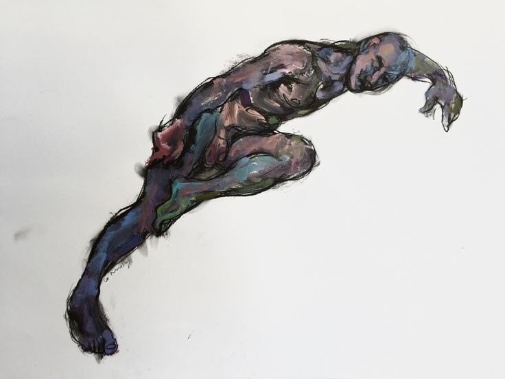 Arched Male Nude, by Mick Connolly. Acrylic and charcoal on paper, 59cm x 84cm (framed). From N U D E W E R K S. #painting #drawing #lifedrawing #worksonpaper #male #figure #nude #nudewerks #mickconnolly #ormond