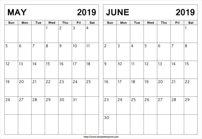 May June 2019 Calendar Printable Template With Holidays June