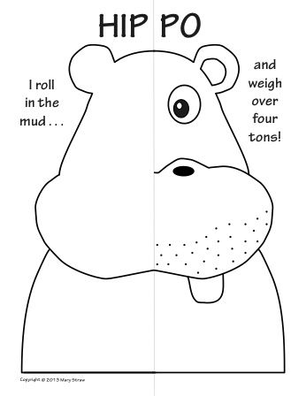 Zoo Animals Symmetry Activity Coloring Pages