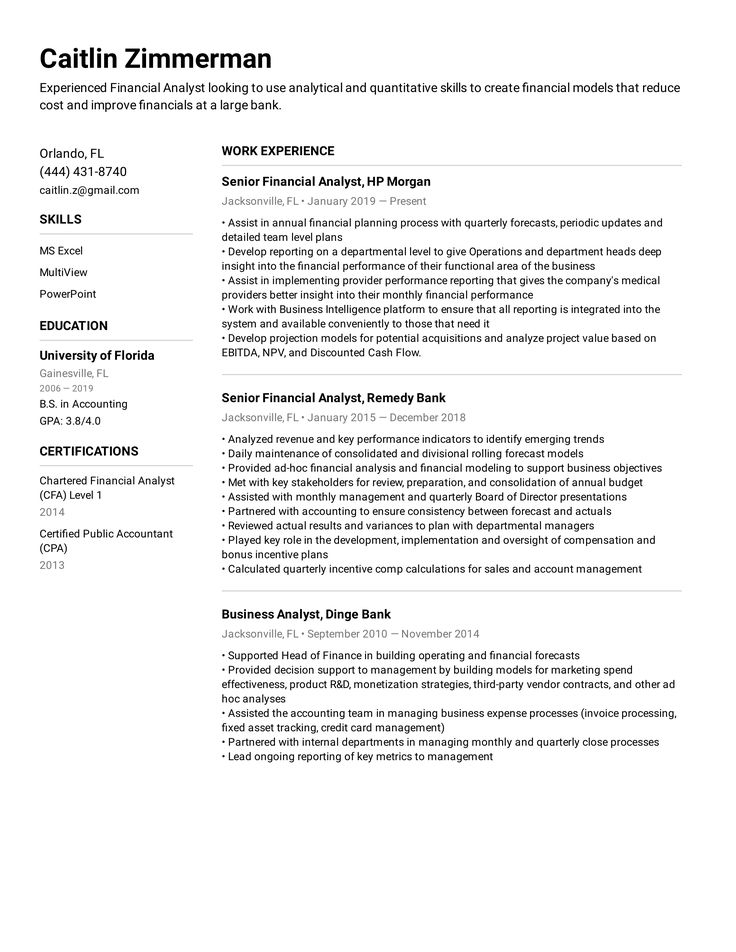 Financial Analyst Resume Example in 2020 Resume examples