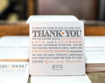 100 Letterpress wedding coasters -Thank You Message Custom Letterpress Coasters, thank you card, family and friends