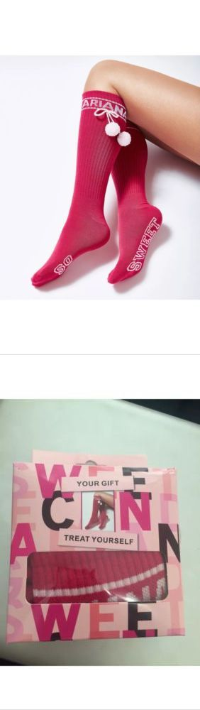 Socks 163588: Ariana Grande Pink White So Sweet Pom Pom Long Socks Stocking One Size New Boxed -> BUY IT NOW ONLY: $43.48 on eBay!