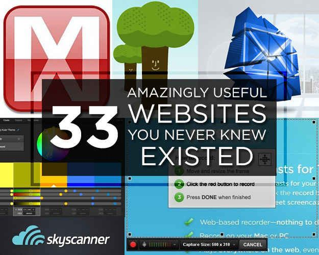 33 Amazingly Useful Websites You Never Knew Existed ... Some good ones in here, from temporary email addresses to shutting down social media accounts.