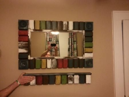 scrap wood mirror and shelf  #primitive  #modern  #recycle