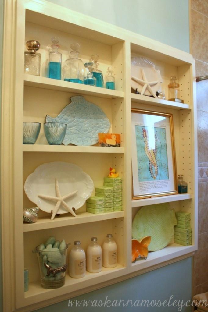 super cute narrow bathroom storage via patricia paulk interiors