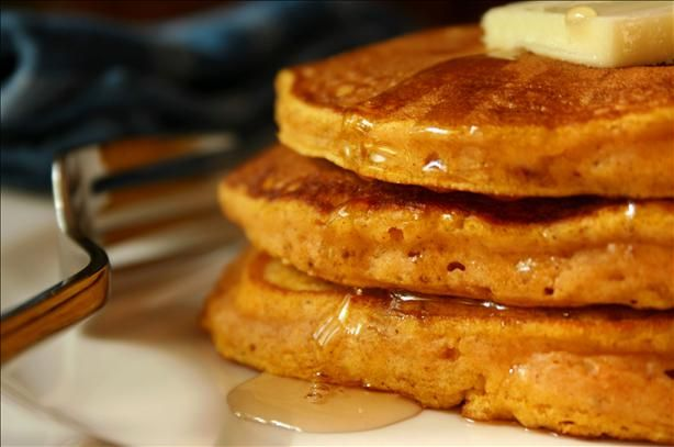 Light and fluffy pumpkin pancakes. I made these Thanksgiving morning and they were DELICIOUS!!! :o)