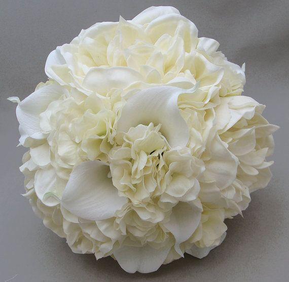 Bridal Bouquets Calla Lilies And Hydrangeas : Real touch peonies calla lily hydrangea bridal bouquet