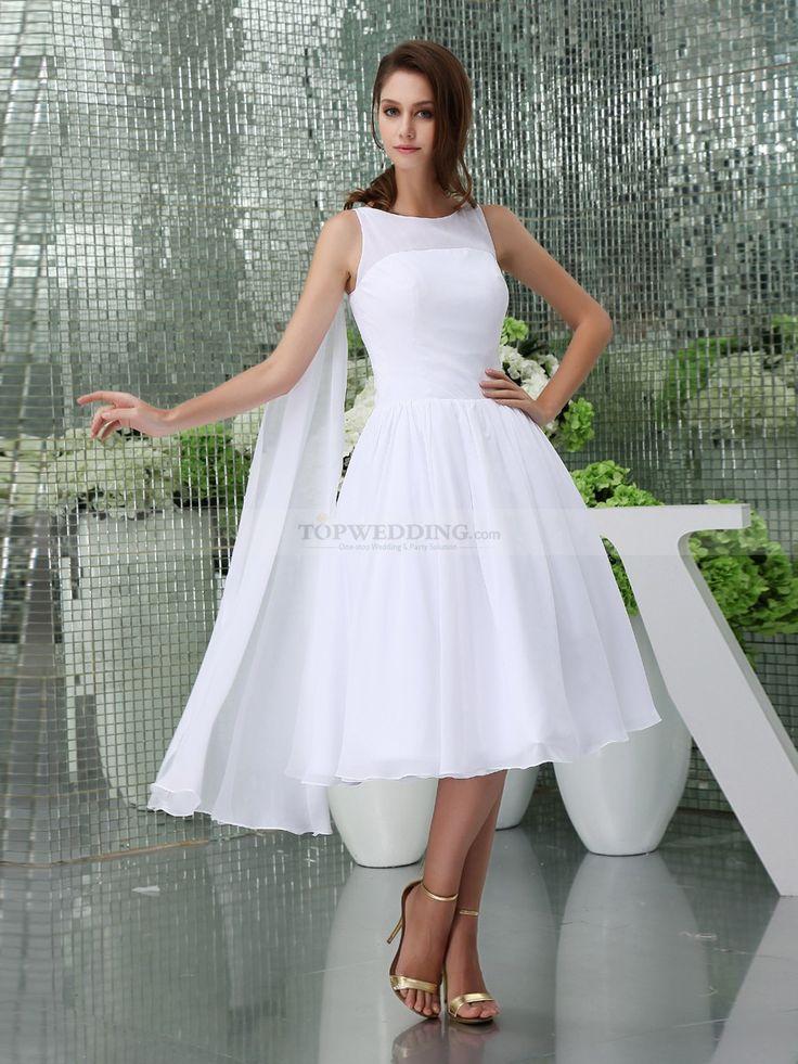 Pearla - Sleeveless Bateau Neck Chiffon Bridal Dress with Shoulder Draping