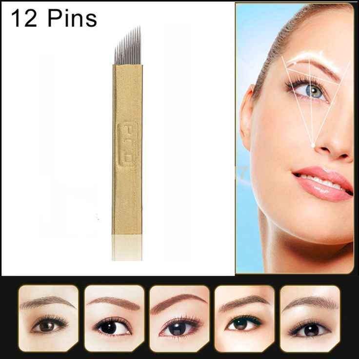PCD Tattoo Eyebrow Microblading Manual Flex Blades Sharp Permanent Makeup Needle 12 Pins For 3D Embroidery Pen Machine 50PCS