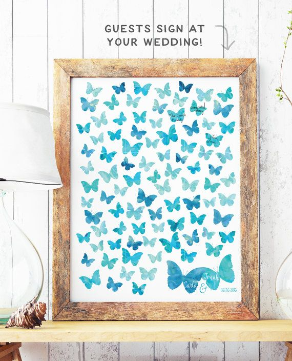 """This boho butterfly wedding guest book is customized with the butterflies for guests to sign in watercolors of your choice . Your guests can all sign this print at your wedding and afterwards you can hang it in your home as a beautiful keepsake.  This guest book can be used for any party or event, including weddings, showers, birthdays, and more. What is an alternative guest book? It is a print designed with """"guest signature spots"""" for each of your guests to sign at the wedding and then can…"""