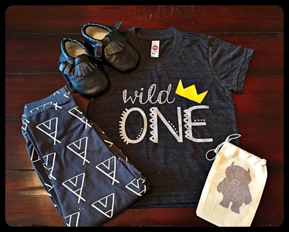 Wild One Graphic Tee Kids- first birthday boys clothes crown personalized shirt