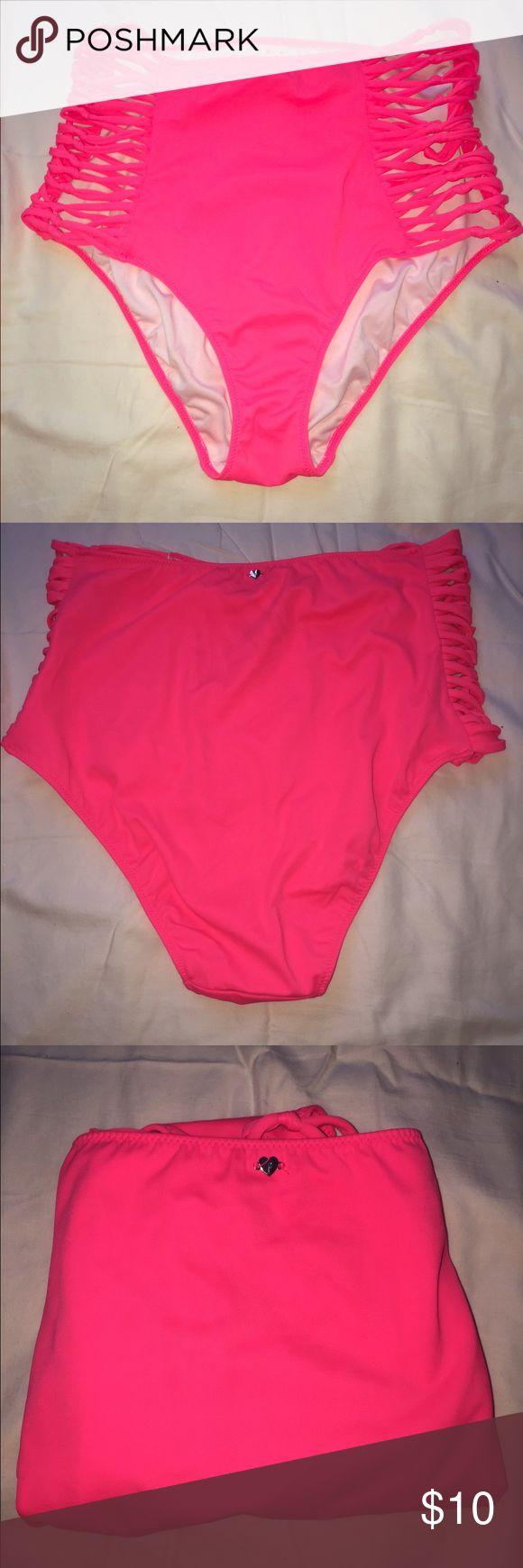 High Waisted Hot Pink Bikini Bottoms Pink Victoria Secret High Waisted Hot Pink Bikini Bottoms. Strappy detailing. 80% Polyester. 20% Elastic. Worn Once. Victoria's Secret Swim Bikinis