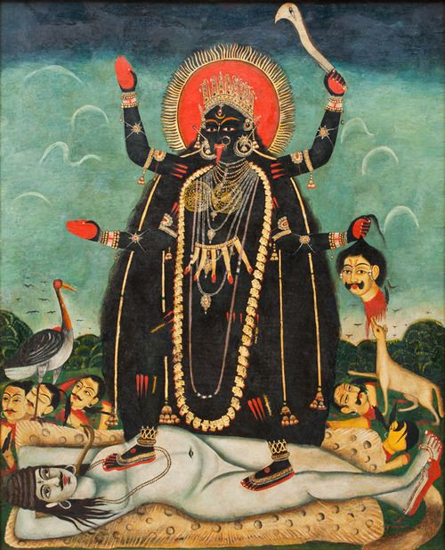 Bengali oil painting of Kali standing on (an interestingly sexless) Shiva. Love that look of pure contentment and adoration,...