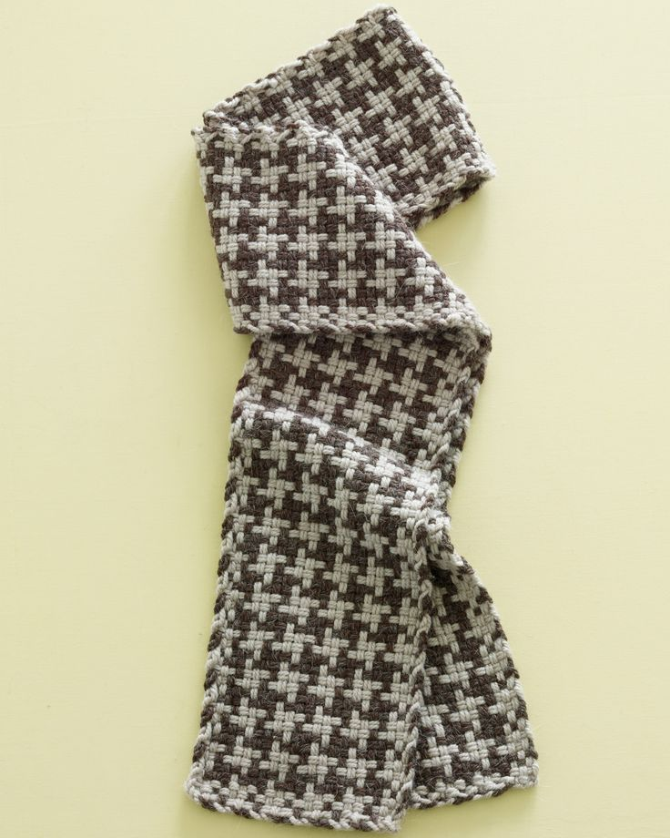 Loom-Woven Houndstooth Check Scarf | Martha Stewart - Bundle up in a handmade scarf that's made with bulky yarn and a textural stitch pattern. #chunkyknit #houndstooth