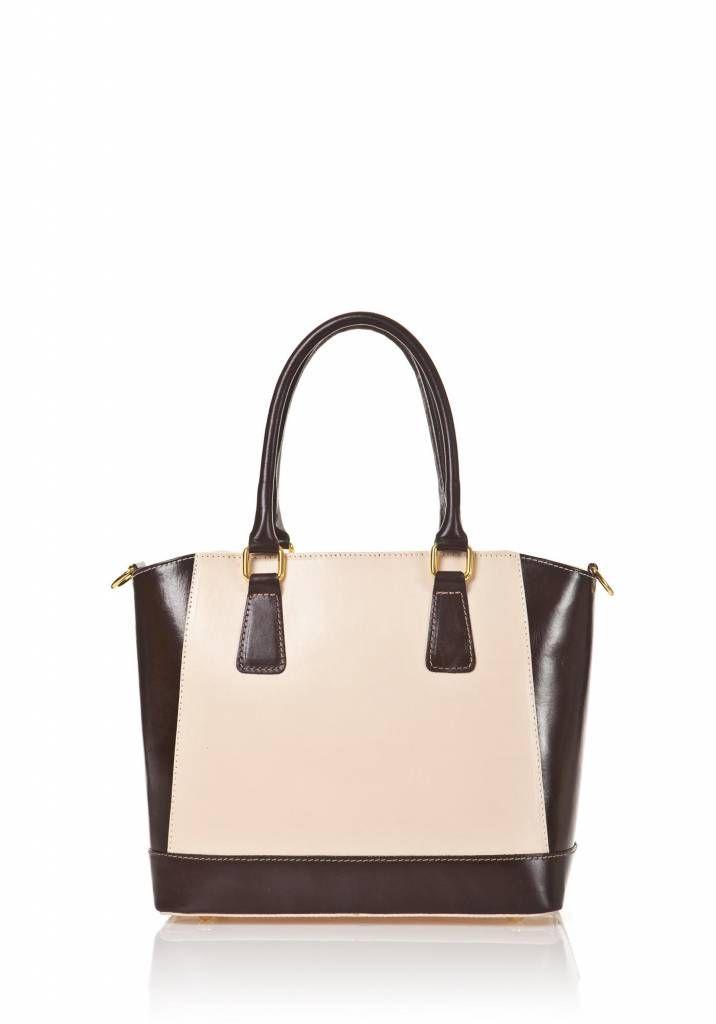 Handtas van kalfsleer met verstelbare schouderband beige kleur met donker bruin