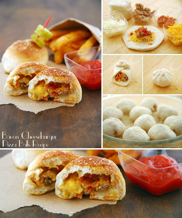 Pizza-balls de hamburguesa, queso y bacon / http://www.thegunnysack.com/