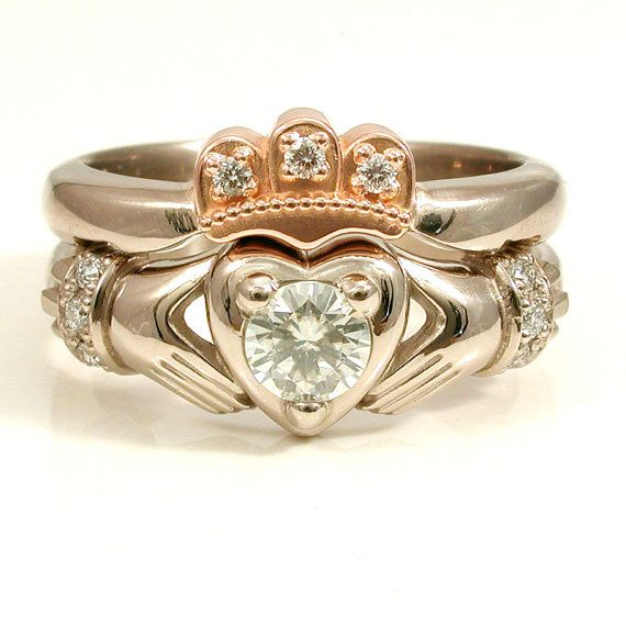 On Etsy 1950 00 Wedding Ring Stacking Claddagh Gold Crown Claddagh