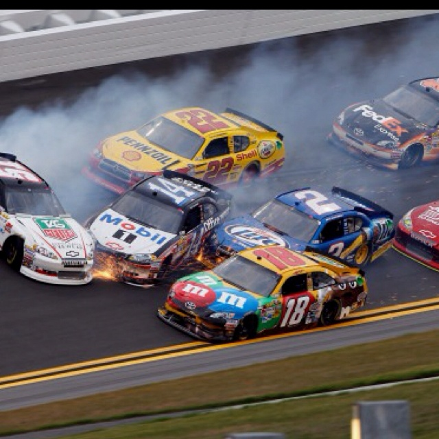 First practice today, first wreck of the season. Yea NASCAR is back!