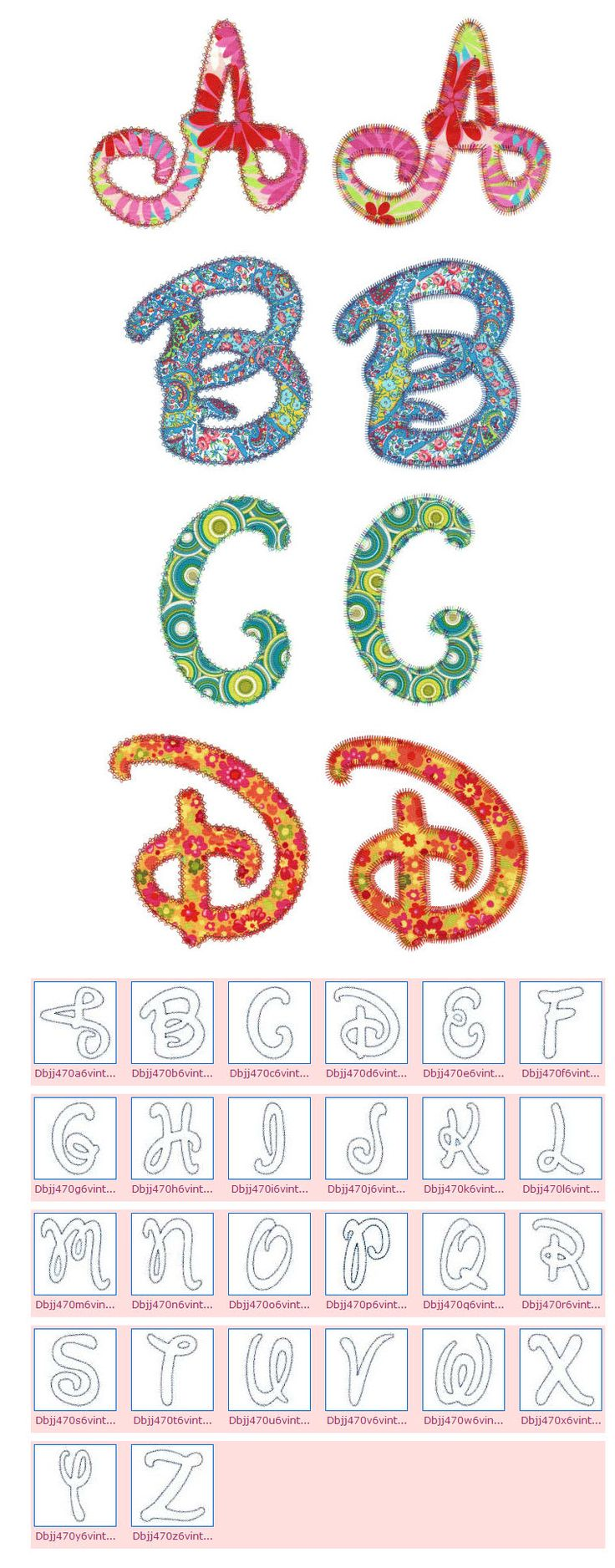 Embroidery | Free Machine Embroidery Designs | Playful Script Applique Alphabet
