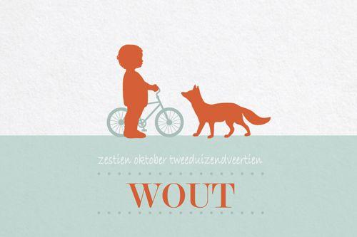 Geboortekaartje jongen - Wout - jongetje met vos - Pimpelpluis - https://www.facebook.com/pages/Pimpelpluis/188675421305550?ref=hl (# simpel - eenvoudig - retro - naam - ventje - dieren - vos - fiets - silhouet - kindje - origineel)