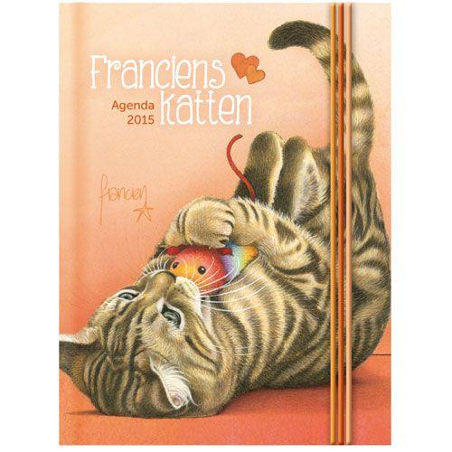 Mini agenda Franciens katten 'Kitten' 2015; een handig formaat (zak)agenda met tekeningen van de hand van Francien van Westering, van de bekende column 'Franciens katten'.€6,99