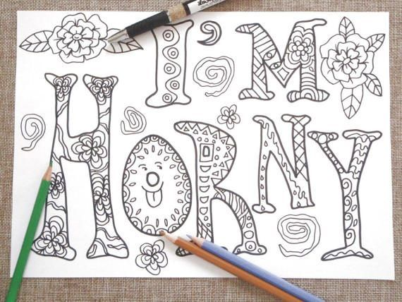 i'm horny swear word adult coloring book sweary di LaSoffittaDiSte